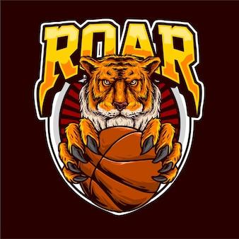 Cabeça do tigre segura uma bola de basquete para logotipo do clube de basquete
