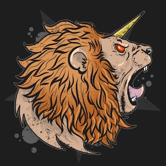Cabeça do unicórnio do leão com trabalhos artísticos angry da raiva