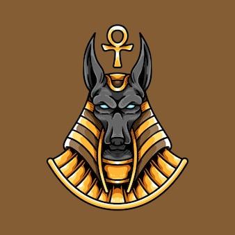 Cabeça e ankh egípcio de anubis