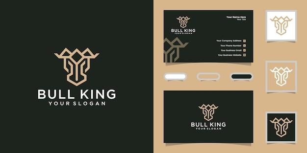 Cabeça e coroa de touro com modelo de design de linha elegante e cartão de visita
