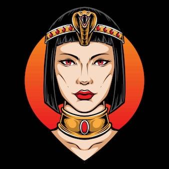 Cabeça e ilustração de cleópatra