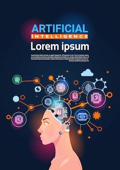 Cabeça feminina com roda dentada de cérebro cibernética e engrenagens conceito de bandeira vertical de inteligência artificial