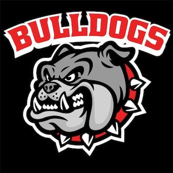 Cabeça furiosa mascote de bulldog