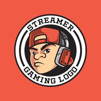 Cabeça gamer personagem legal logotipo vintage