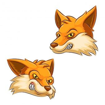 Cabeça gráfica de uma ilustração de mascote de raposa