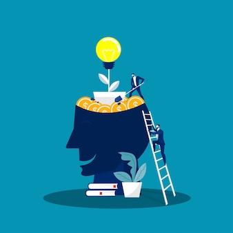 Cabeça grande humano pensa crescimento conceito de mentalidade