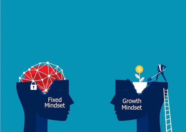 Cabeça grande pensa que mentalidade de crescimento diferente conceito de mentalidade fixa