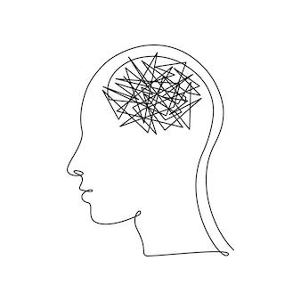 Cabeça humana com confusão de pensamentos em desenho contínuo de uma linha. conceito de má saúde mental, ansiedade e estresse. dor de cabeça e caos na consciência em estilo linear. ilustração vetorial.