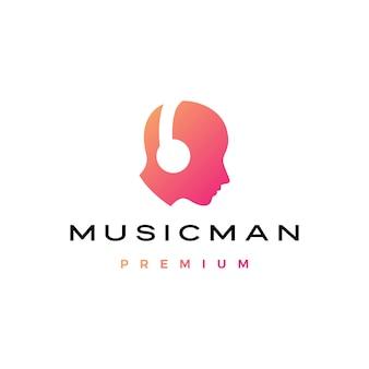 Cabeça humana de música homem com logotipo de fone de ouvido
