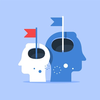 Cabeça humana e bandeira, melhoria de nível seguinte, treinamento e orientação, busca da felicidade, auto-estima e confiança, ilustração plana