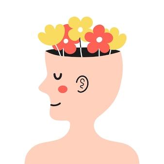 Cabeça humana fofa de perfil com flores dentro