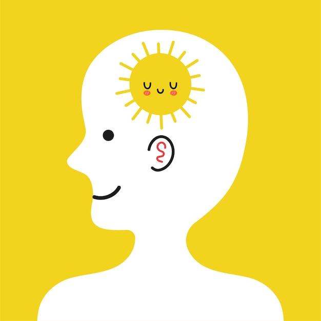 Cabeça humana fofa de perfil com o sol dentro