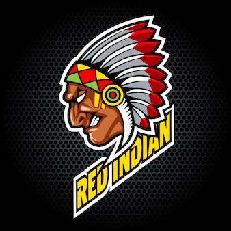Cabeça indiana do lado. pode ser usado para logotipo de clube ou equipe.