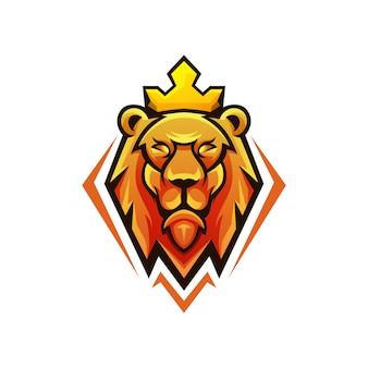 Cabeça leão rei design de logotipo
