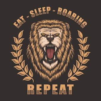 Cabeça leão rugindo
