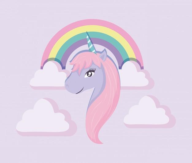 Cabeça lindo unicórnio de conto de fadas com arco-íris e nuvens