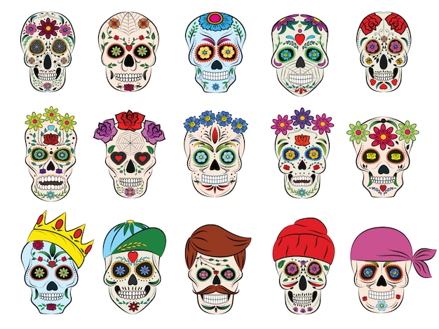 Cabeça morta florida mexicana de vetor de crânio e ossos cruzados de floração e tatuagem humana conjunto de caveira grossa de símbolo de horror da morte ou do mal no méxico isolado