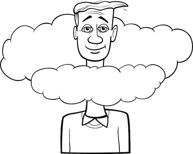 Cabeça nas nuvens dizendo desenhos animados
