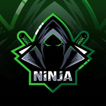 Cabeça ninja mascote logotipo esport design