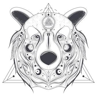 Cabeça ornamental de urso com vetor de arte de linha de valknut