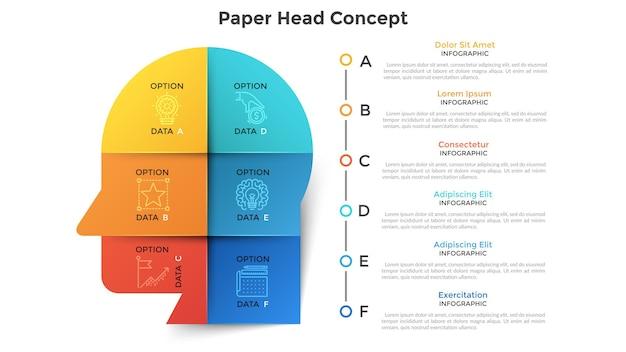Cabeça ou perfil humano dividido em 6 pedaços de papel colorido. conceito de seis características do pensamento empresarial criativo. modelo de design moderno infográfico. ilustração vetorial para visualização de dados.