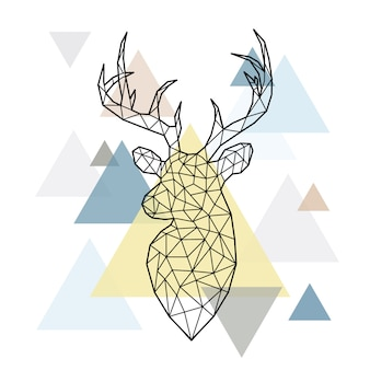 Cabeça poligonal abstrata de cervo da floresta.