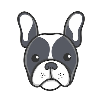 Cabeça preta adorável bonito dos desenhos animados do filhote de cachorro do buldogue francês de frenchie.