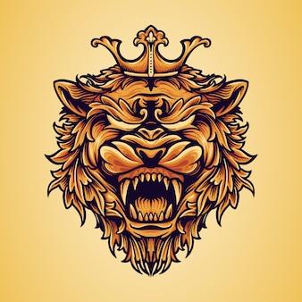 Cabeça rei leão logotipo com ornamentos