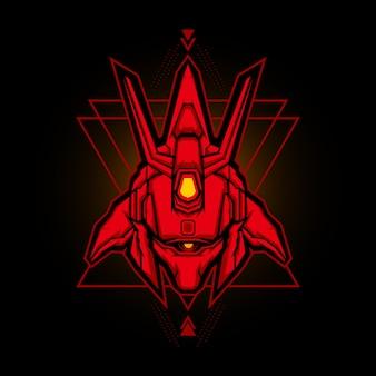 Cabeça robótica esports logo vector design