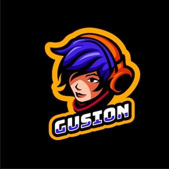 Cabeça rosto mulher homem personagem esports estilo logotipo