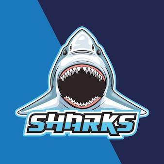 Cabeça selvagem de tubarão em ilustração de fundo azul