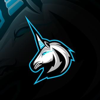 Cabeça unicórnio mascote logotipo e-sport design