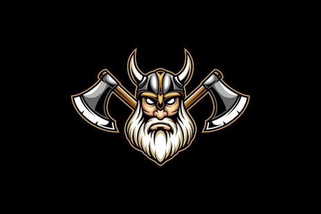 Cabeça viking e logotipo esportivo de machado duplo