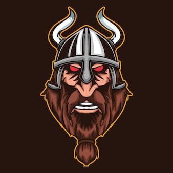 Cabeça viking isolada em marrom