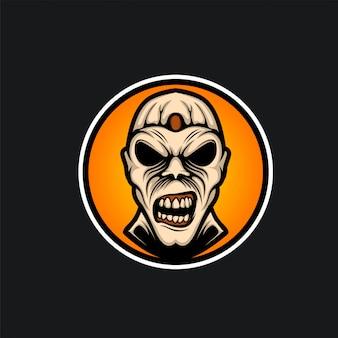 Cabeça zumbi logotipo ilustração