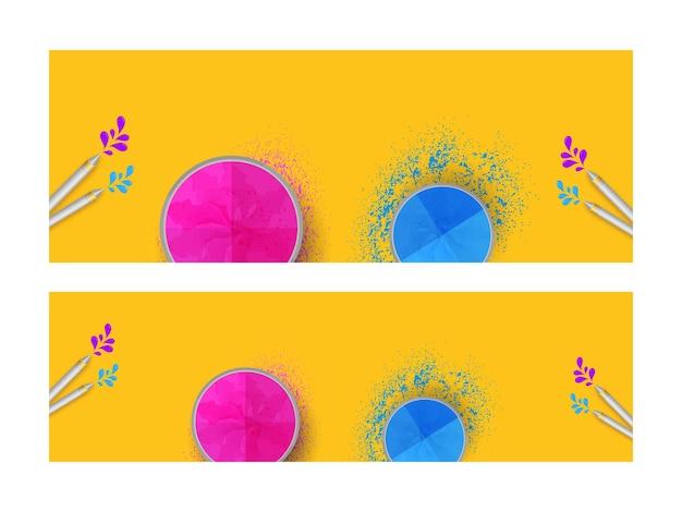 Cabeçalho amarelo ou design de banner com tigelas de pó (gulal) de vista superior