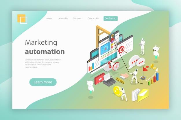 Cabeçalho da página de destino de vetor plano isométrico para automação de marketing digital