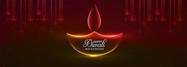 Cabeçalho de cartão festival hindu de diwali ou banner