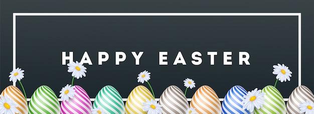 Cabeçalho de feliz páscoa ou banner design decorado