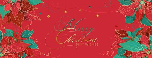 Cabeçalho de gala de natal poinsettia vermelho em um estilo de luxo elegante.