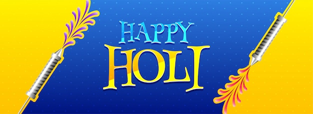 Cabeçalho de holi feliz ou banner design na cor amarela e azul para
