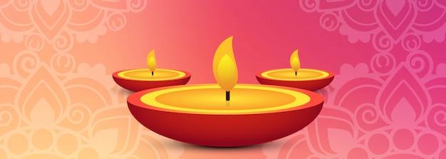 Cabeçalho de lâmpada de óleo de celebração de festival de diwali ou banner