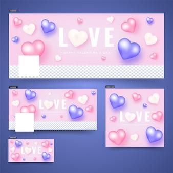 Cabeçalho de mídia social ou banner com coração colorido brilhante sha
