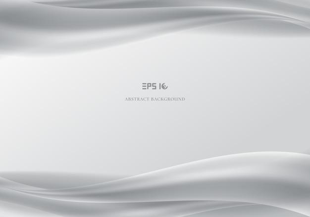 Cabeçalho de modelo e rodapés abstraem ondas brancas suaves