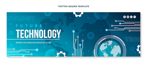 Cabeçalho de twitter com tecnologia mínima