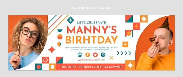 Cabeçalho de twitter de aniversário em mosaico de design plano