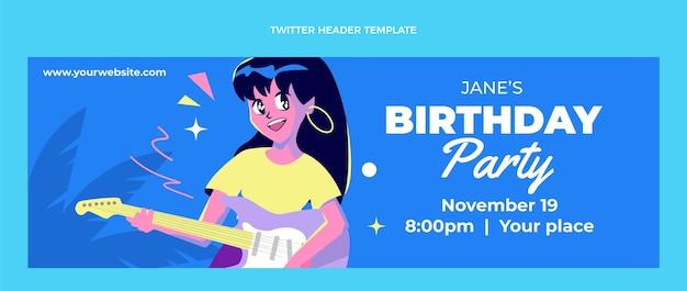 Cabeçalho de twitter de aniversário nostálgico de design plano dos anos 90