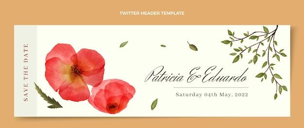 Cabeçalho de twitter de casamento floral em aquarela