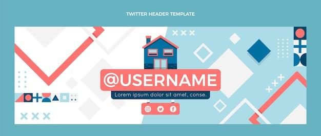Cabeçalho de twitter de imobiliário plano abstrato geométrico