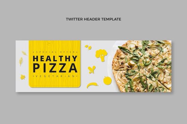 Cabeçalho de twitter de pizza saudável em design plano